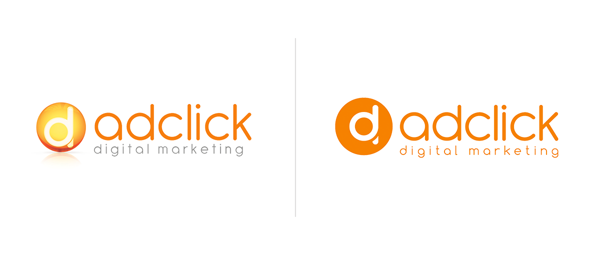 The Adclick logo, old versus new