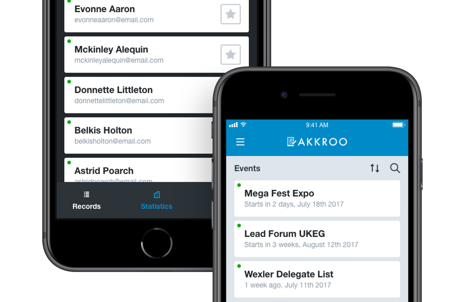 Two devices showing the user inteface for badge scanning in the Akkroo app